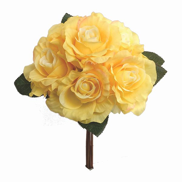 14 in. Fresh-Cut Yellow Rose Bouquet X6, Silk Flowers