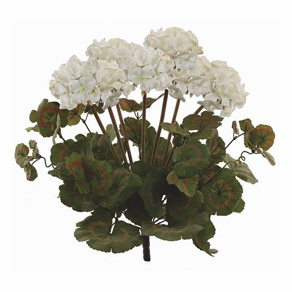 20 in. White Geranium Bush X7 , Silk Flowers
