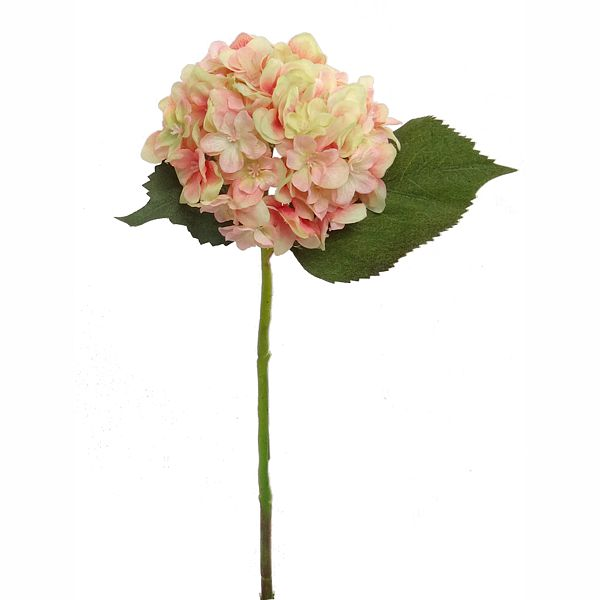 12 in. Green/Pink Hydrangea Pick