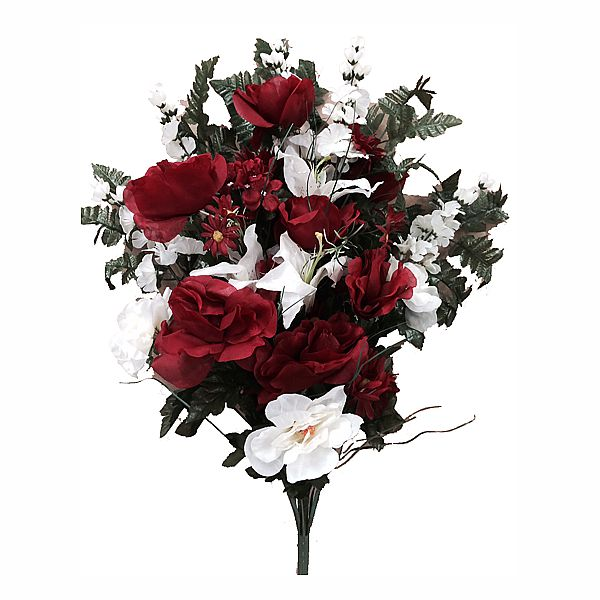 29 in. Red/White Rose/Lily / Delphinium /Hydrangea / Daisy Grass Spray x30