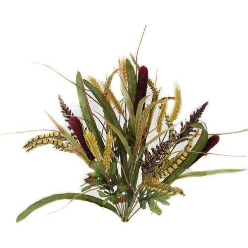 22 in. Cattail/Wheat/Millet/Mix Foliage Bush