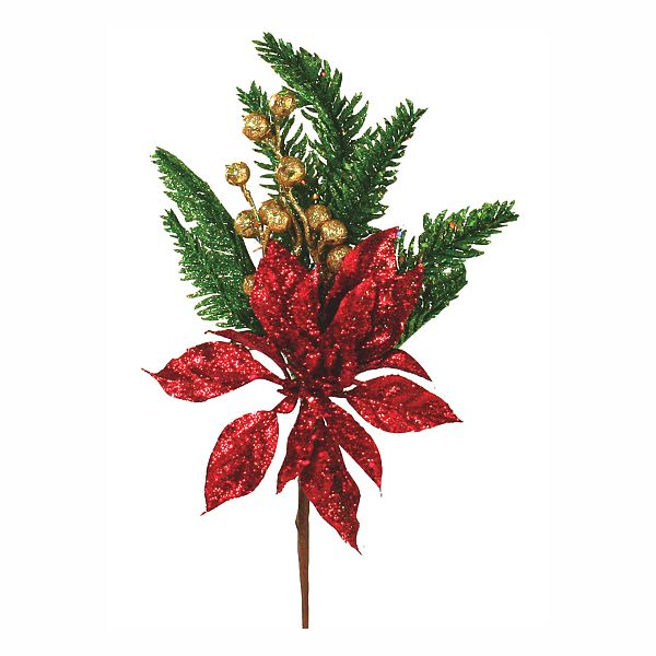 13 In Rd Poinsettia Gold Berry Green Pine Pick W Glitter Sequins Faux Poinsettias
