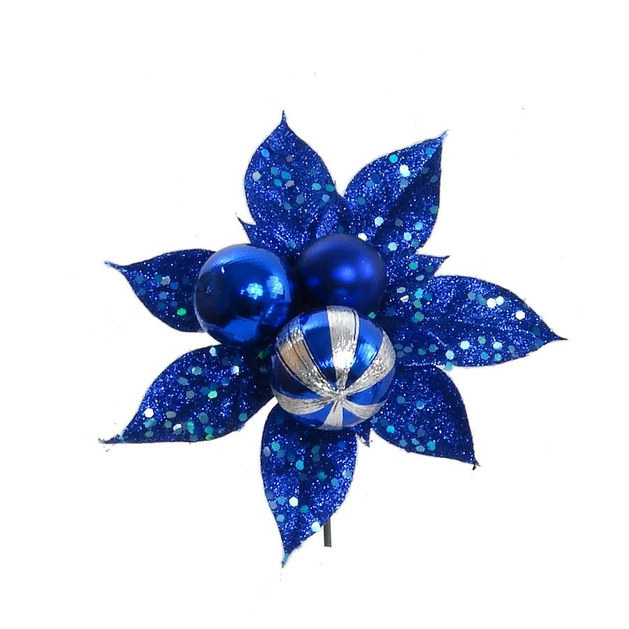 Royal Blue Poinsettia3 Ball Pick Wglitter Sequins Faux Poinsettias